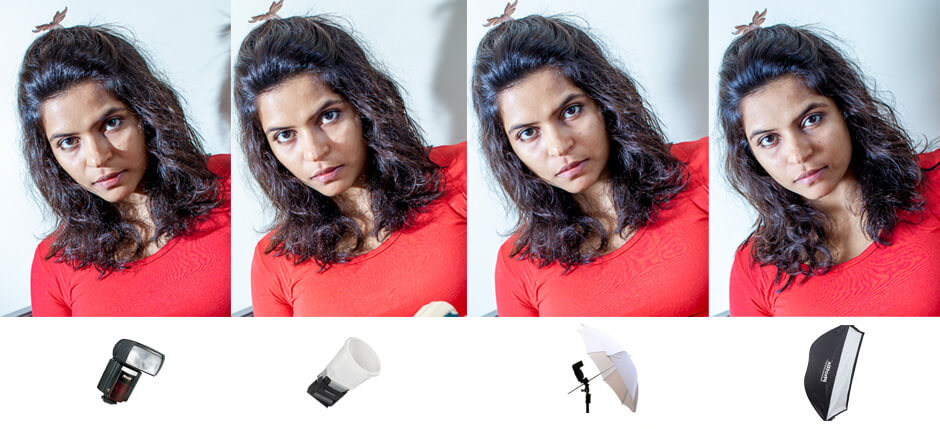 bare flash vs diffusor vs umbrella vs softbox
